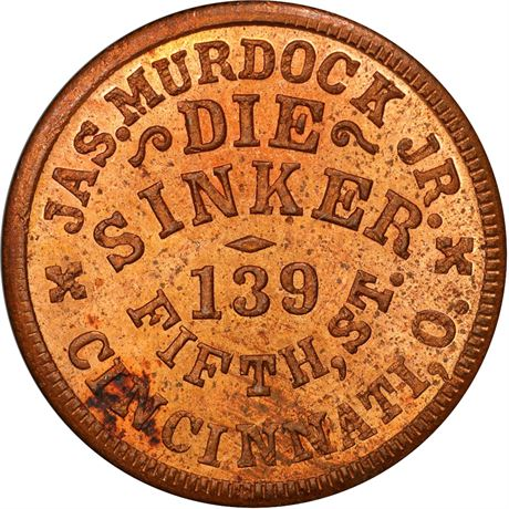 OH165DY-4a Cincinnati Ohio Murdock Die Sinker Civil War Token PCGS MS64 RD R9