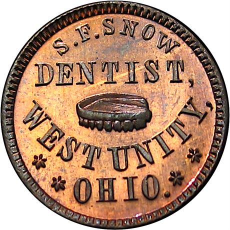 OH930D-3a West Unity Ohio Dentist Dentures Civil War Token NGC MS66 RB