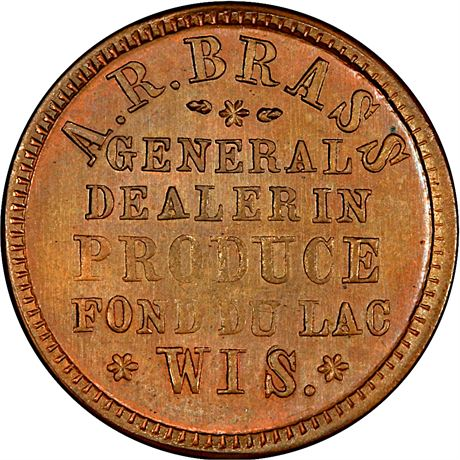 WI220B-1a Fond du Lac Wisconsin Civil War Token PCGS MS64