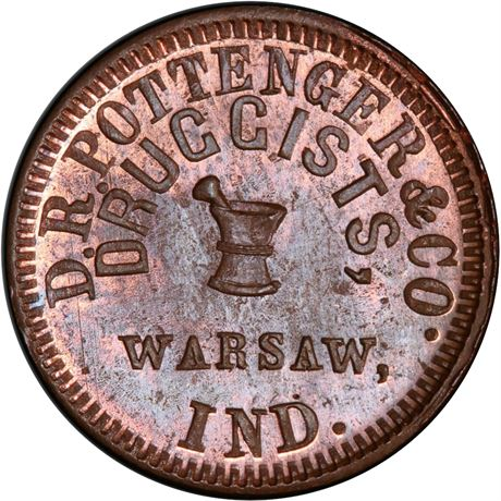 IN950C-1a Warsaw Indiana Druggist Civil War Token NGC MS65 R6 Tanenbaum