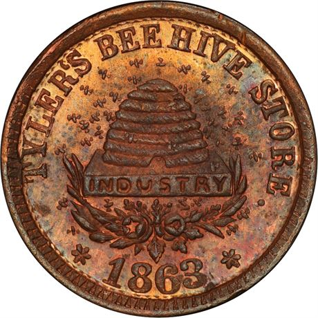 IN460V-2a Indianapolis Indiana Beehive Civil War Token PCGS MS64 RB R8