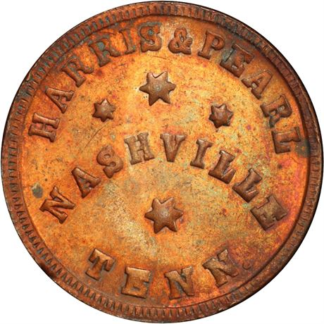 TN690B-1a Nashville Tennessee Civil War Token PCGS MS64 RB R9